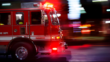 Fire crews battle an apartment fire in North Olmsted
