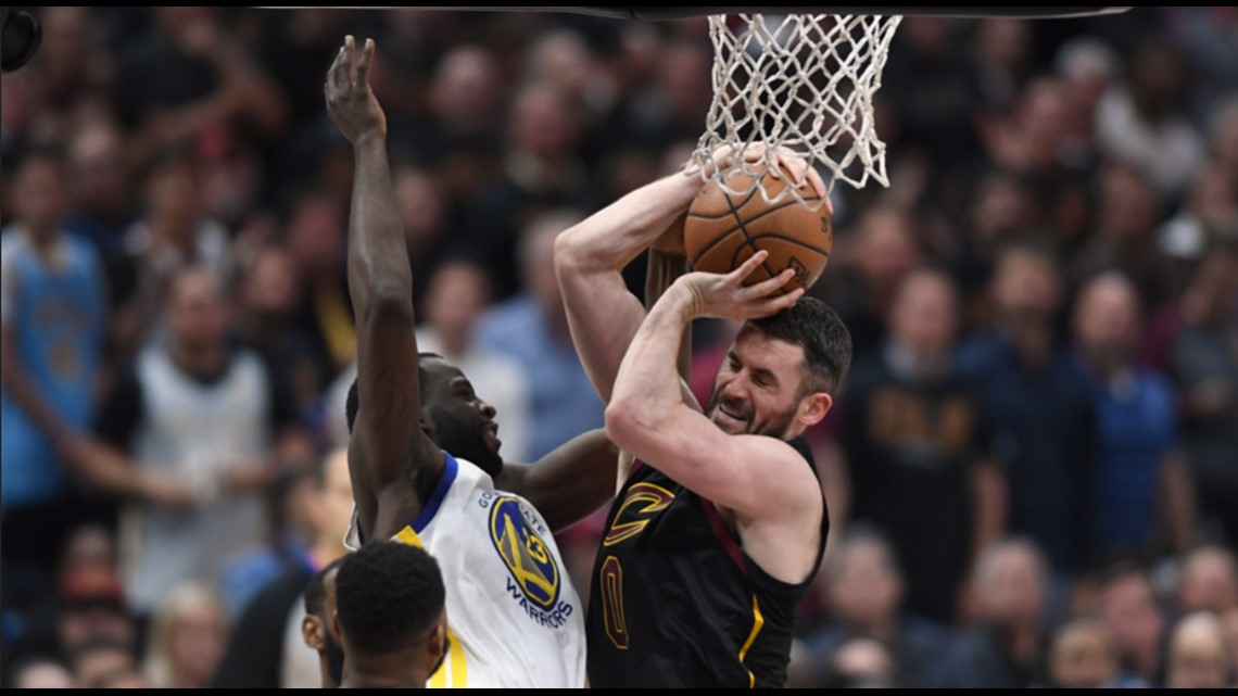 92677cd26d9 Cleveland Cavalies power forward Kevin Love fights for a rebound against  the Golden State Warriors in Game 3 of the 2018 NBA Finals at Quicken Loans  Arena ...