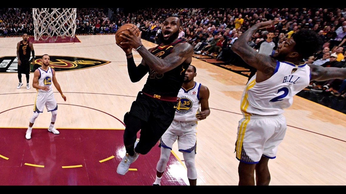 985a47cf595 Cleveland Cavaliers small forward LeBron James drives to the hoop against  the Golden State Warriors in Game 3 of the 2018 NBA Finals at Quicken Loans  Arena ...