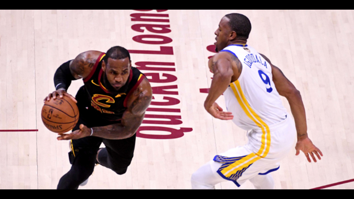 e34e46dfd87 Cleveland Cavaliers small forward LeBron James drives to the hoop against  Golden State Warriors forward Andre Iguodala in Game 3 of the 2018 NBA  Finals at ...