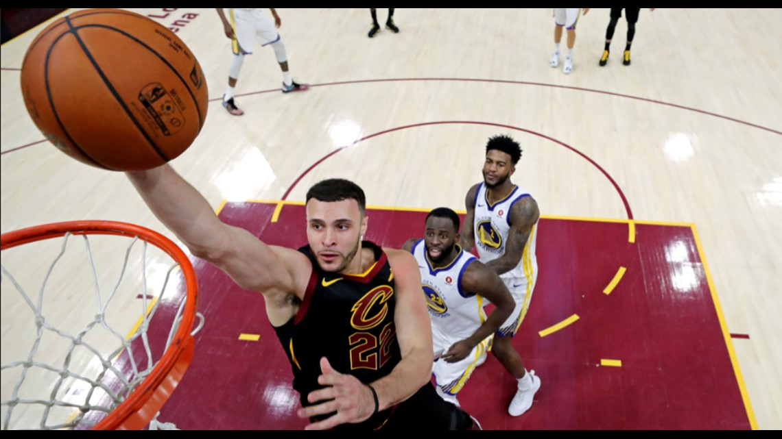 7a4e24c13e0 Cleveland Cavaliers center Larry Nance Jr. throws down a dunk against the  Golden State Warriors in the first half of Game 4 of the 2018 NBA Finals at  ...