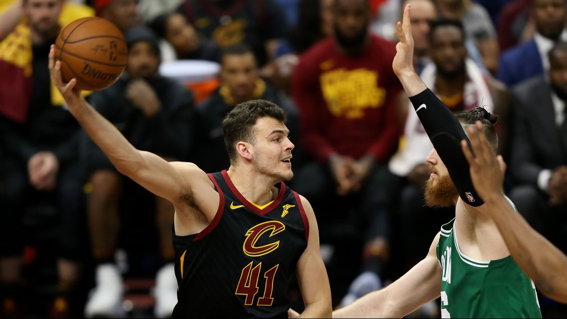 47c4f8bc74e7 Cleveland Cavaliers forward Ante Zizic (41) looks to pass in front of Boston  Celtics center Aron Baynes (46) during the second half in Game 3 of the  2018 ...