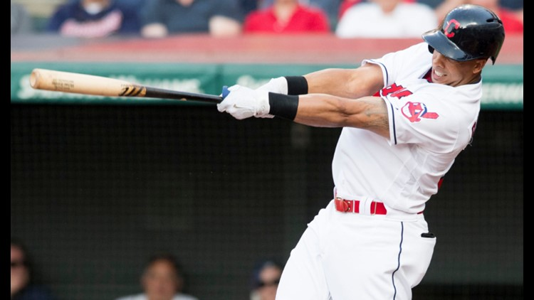 Left fielder Michael Brantley doubled home two runs for the Cleveland Indians in the bottom of the second inning against the New York Yankees at Progressive Field.
