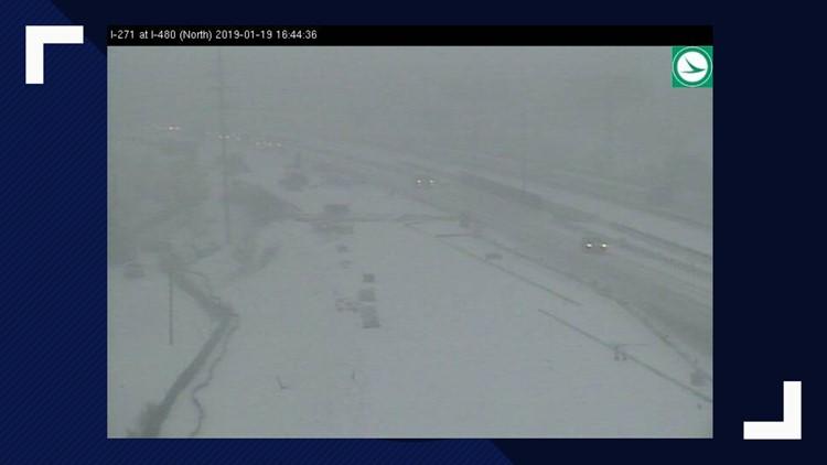 271 snow at I-480 January 19, 2019 winter storm
