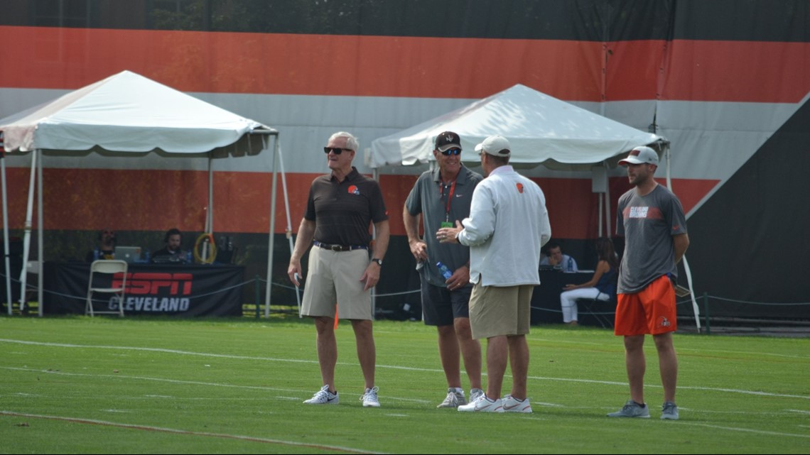 Cleveland Browns owner Jimmy Haslam (far left) looks on at practice alongside GM John Dorsey (second from right) during the first day of training c& at ... & Hue Jackson: Cleveland Browns had u0027good first dayu0027 of training camp ...