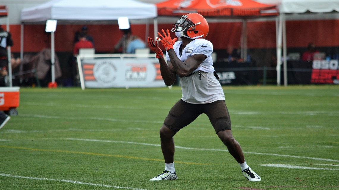 86b375e31 Cleveland Browns wide receiver Antonio Callaway fields a punt during a  recent training camp practice at team headquarters in Berea.