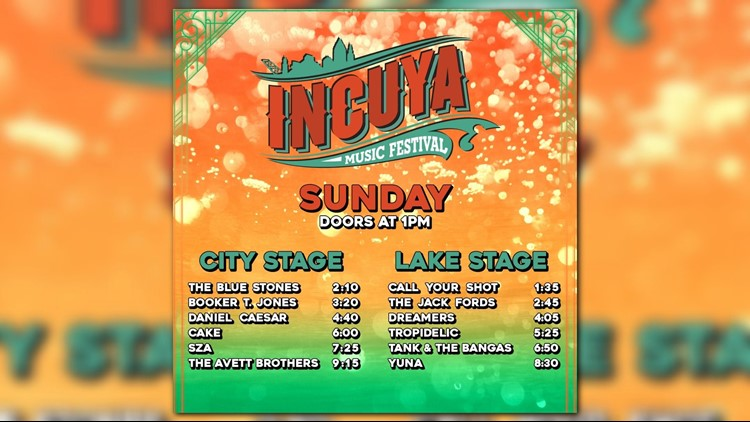 Sunday schedule for InCuya Music Festival