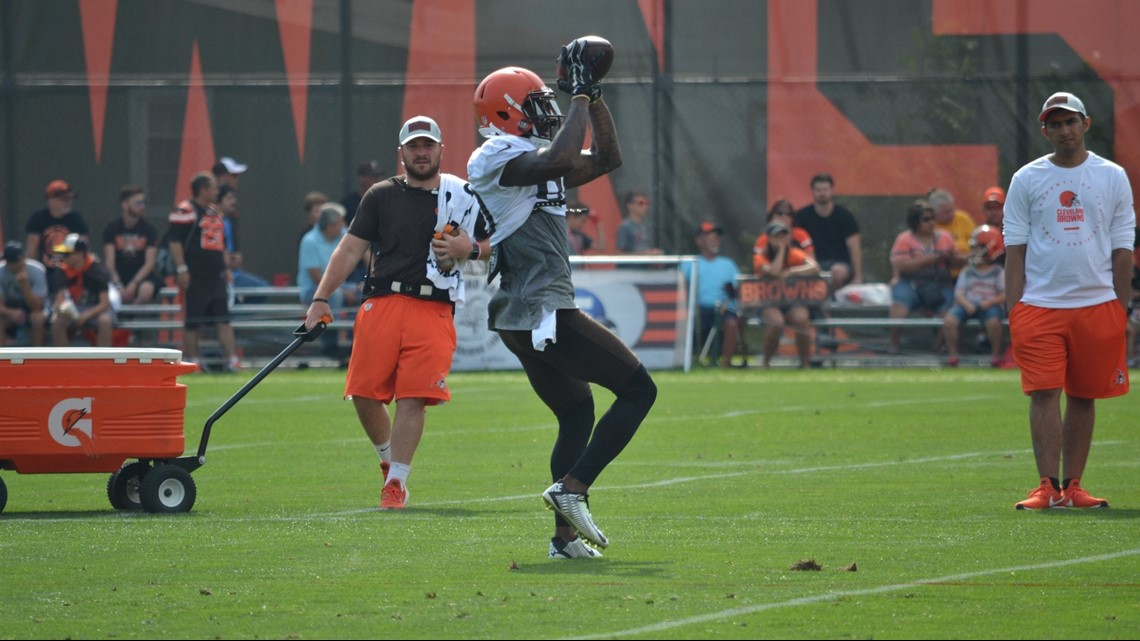 c76338df2 Cleveland Browns wide receiver Jarvis Landry secures a catch during a drill  in a training-camp practice at the team s Berea training facility.