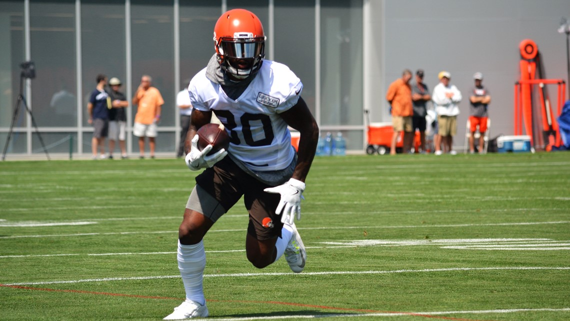 17a5fbfcb Cleveland Browns wide receiver Jarvis Landry hustles up the field after  securing a catch during a drill in a training-camp practice at the team s  Berea ...