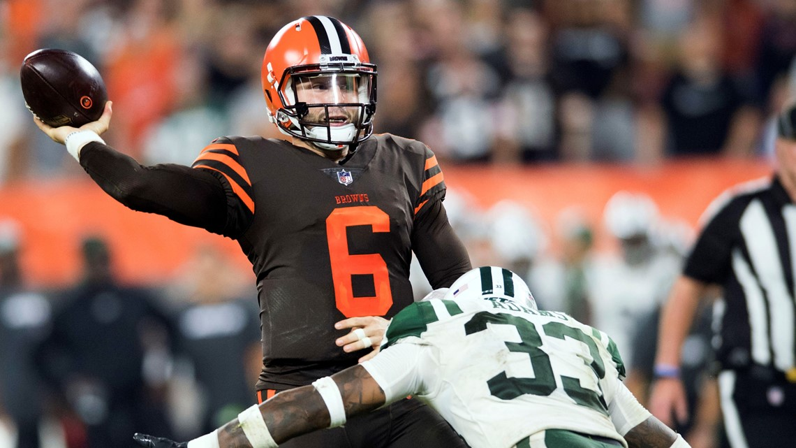7d325a8e798 Cleveland Browns quarterback Baker Mayfield (6) throws a pass under  pressure from New York Jets defensive back Jamal Adams (33) during the  second half at ...