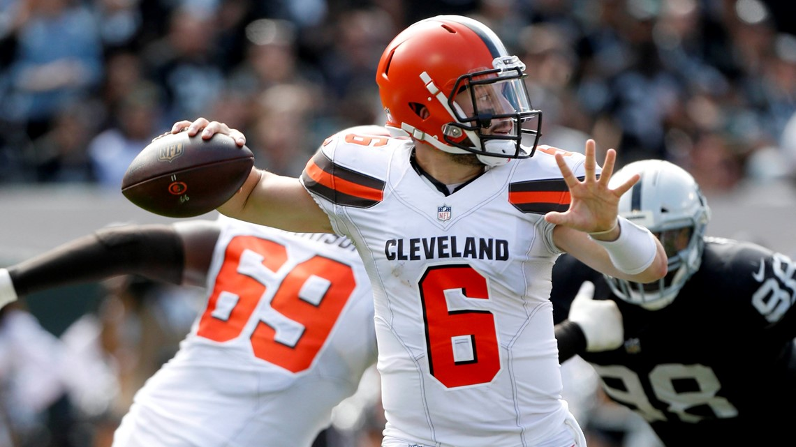 cf347d0a4b3 Cleveland Browns quarterback Baker Mayfield threw a third-quarter touchdown  pass to wide receiver Jarvis Landry against the Oakland Raiders at the ...