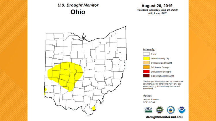 Ohio drought monitor for August 22, 2019