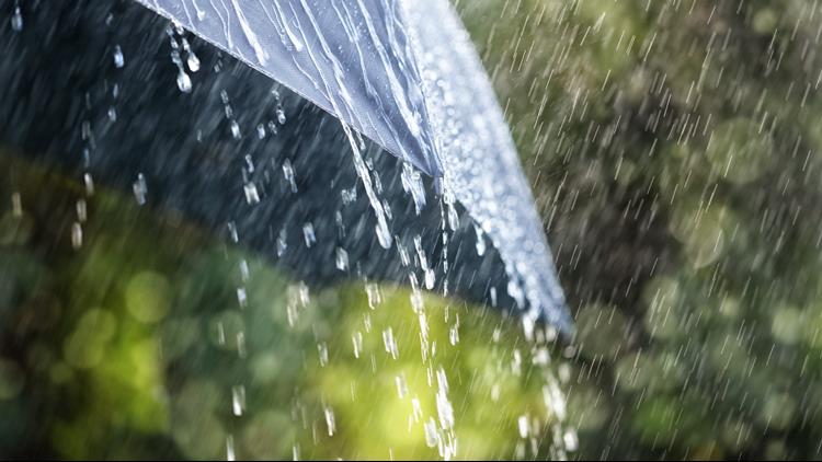 Heavy rain on umbrella during storm