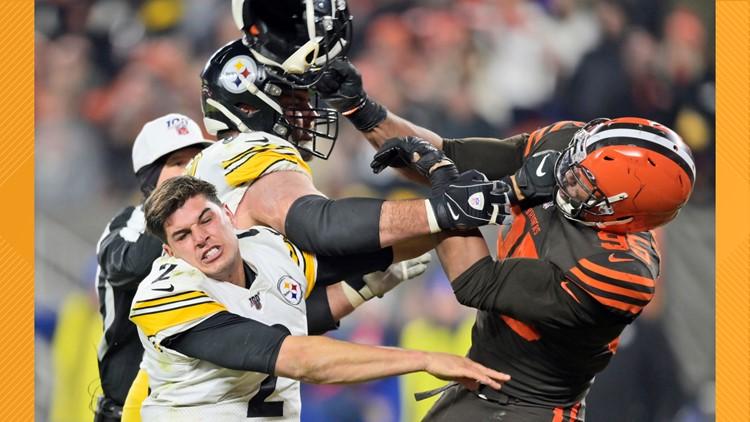 Myles Garrett Mason Rudolph fight APTOPIX Steelers Browns Football