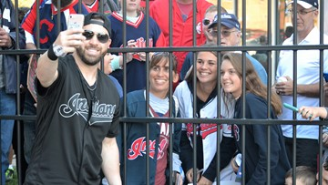 Cleveland Indians 2B Jason Kipnis holds annual locker clean-out event at Progressive Field