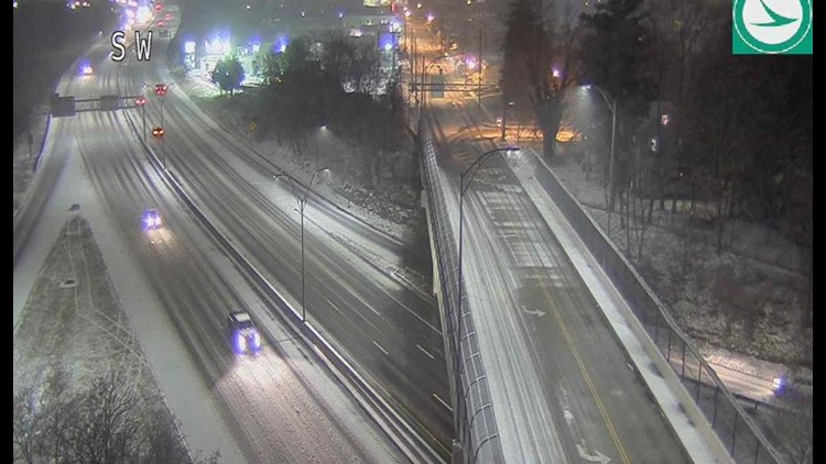 Snowy road conditions Route 8 at Front Street February 7, 2020