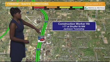 Construction worker struck by vehicle on I-77 South in Jackson Township