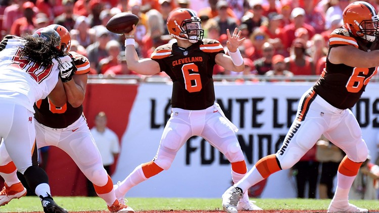 af2cfcbbc WATCH  Baker Mayfield throws game-tying TD pass to Jarvis Landry for Cleveland  Browns