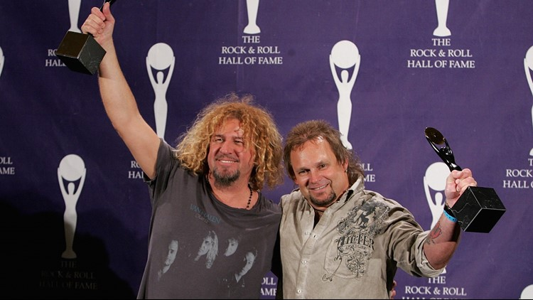 Sammy Hagar and Michael Anthony of Van Halen celebrate being Inducted into the Rock and Roll Hall of Fame.