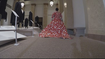 Akron woman transforms Netflix DVD collection into a wearable dress