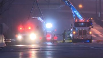 Route 8 North reopens after semi carrying gasoline catches fire in Akron