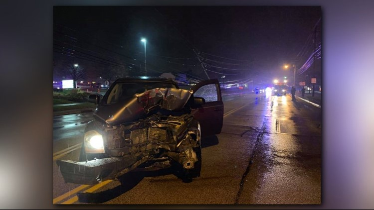 Snow Road closed after car strikes utility pole in Parma