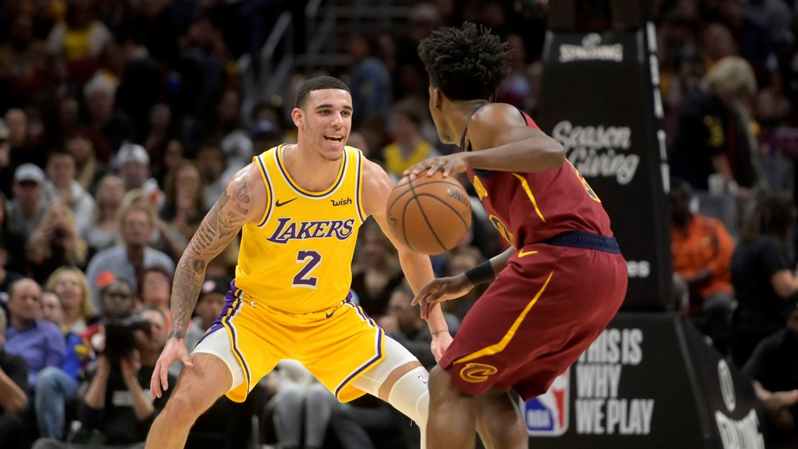 bad91c5bba3a Los Angeles Lakers guard Lonzo Ball (2) defends Cleveland Cavaliers guard  Collin Sexton (2) in the second quarter at Quicken Loans Arena in Cleveland