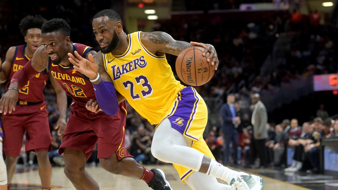 067fc9ea989e Los Angeles Lakers forward LeBron James (23) drives against Cleveland  Cavaliers guard David Nwaba (12) in the second quarter at Quicken Loans  Arena in ...