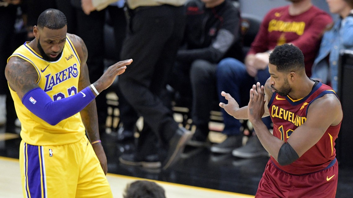 171ebaa89de3 Los Angeles Lakers forward LeBron James (23) and Cleveland Cavaliers center  Tristan Thompson (13) share a laugh before a game at Quicken Loans Arena in  ...