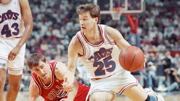 He's still got it! Former Cavs great Mark Price shows son his three-point shooting skills