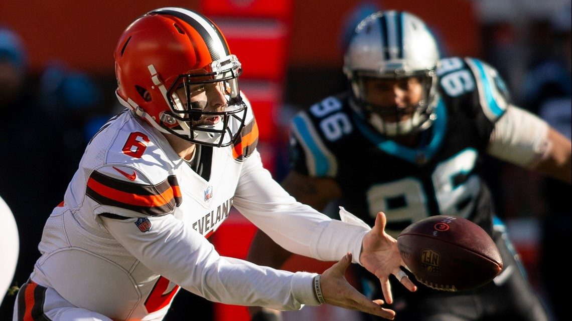 Cleveland Browns quarterback Baker Mayfield (6) tosses the ball against the Carolina  Panthers during the second quarter at FirstEnergy Stadium in Cleveland c21dcfa18