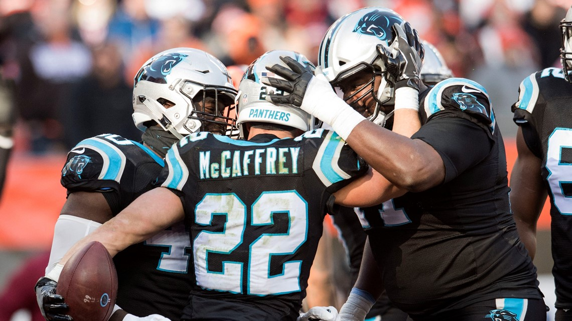 Carolina Panthers running back Christian McCaffrey (22) celebrates after  scoring a touchdown during the first quarter against the Cleveland Browns  at ... a78e9789f