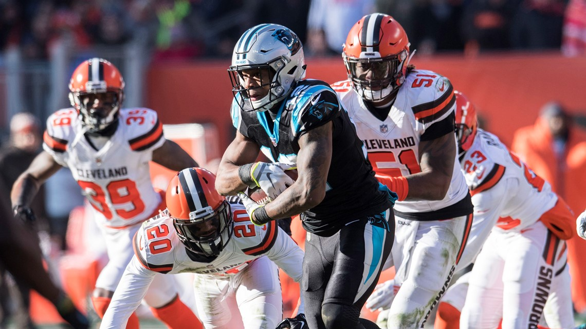 Cleveland Browns outside linebacker Jamie Collins (51) and cornerback  Briean Boddy-Calhoun (20) pursue Carolina Panthers wide receiver D.J. Moore  (12) after ... 26ba3ee7f