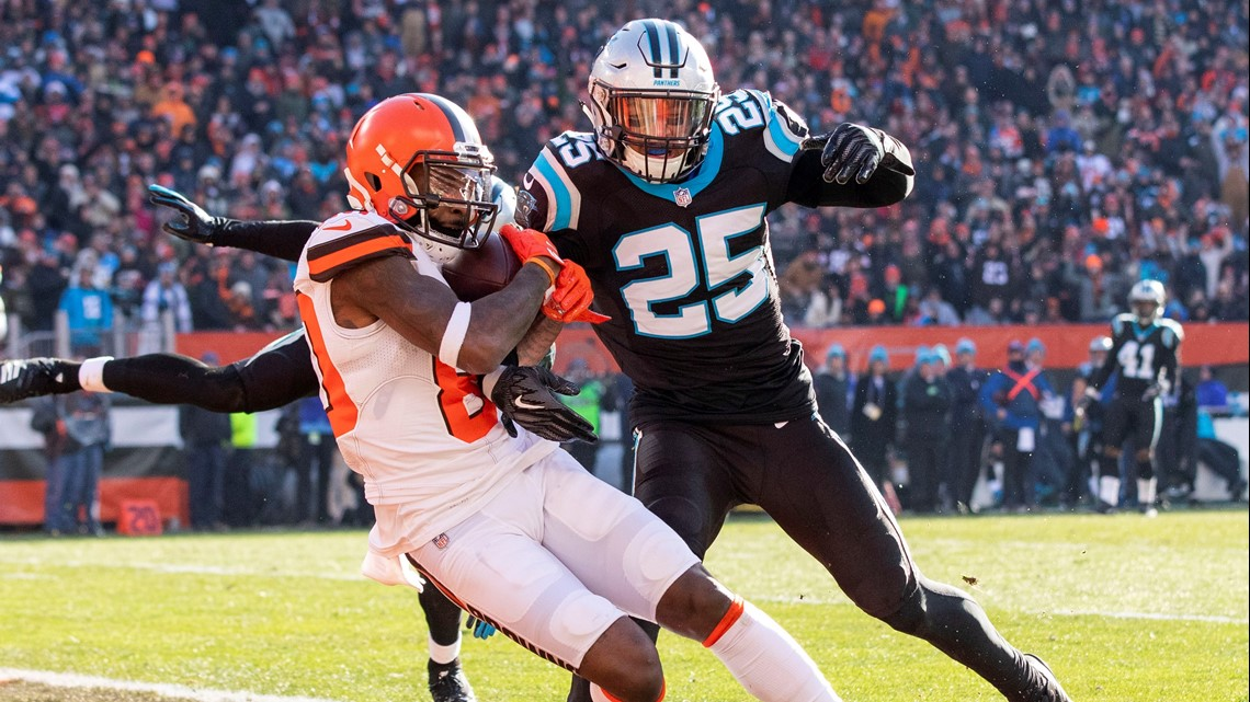 Cleveland Browns wide receiver Jarvis Landry (80) makes a touchdown catch against  Carolina Panthers strong safety Eric Reid (25) during the second quarter ... da5bee41b