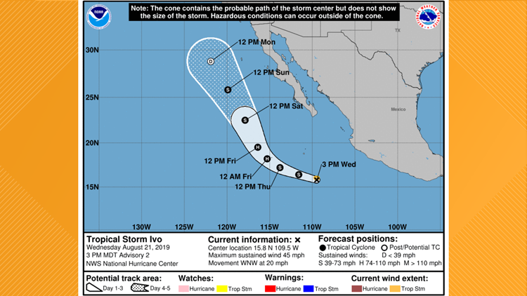 Tropical Storm Ivo on August 21, 2019