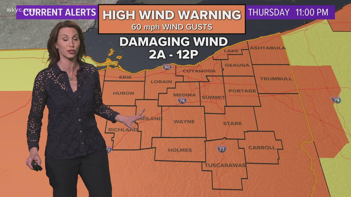 High wind warnings issued for all of Northeast Ohio until Friday afternoon