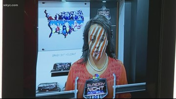 Jasmine Monroe puts her Cleveland Browns game face on