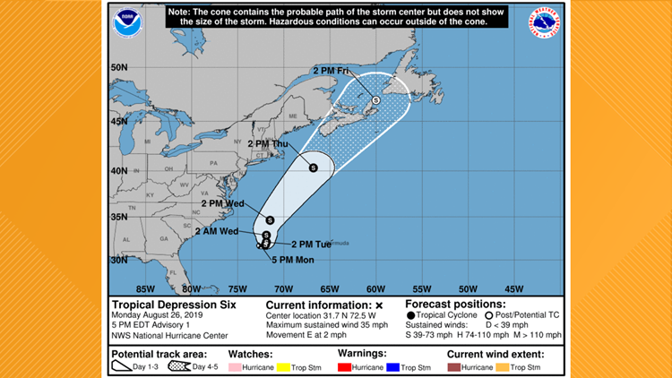 Tropical Depression Six on August 26, 2019