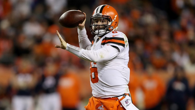 Cleveland Browns QB Baker Mayfield throws pass against Denver Broncos