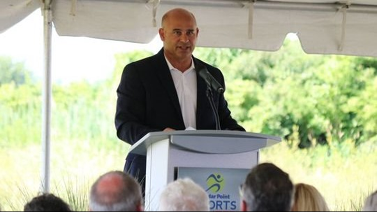 Duff Milkie, executive vice president of Cedar Fair, discusses the new $28 million indoor sports facility joining Sports Force Park at Cedar Point Sports Center in Sandusky. (Photo: Jon Stinchcomb/News Herald)