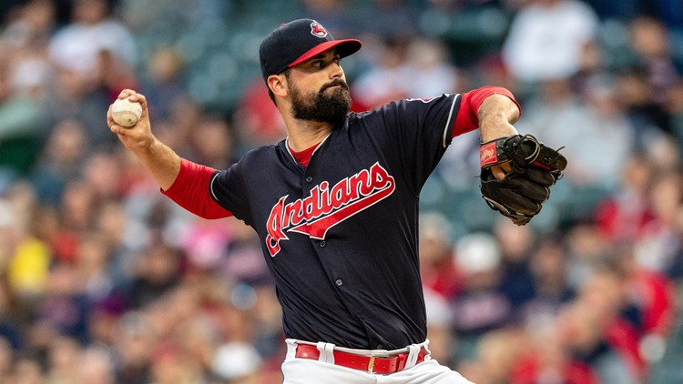 Adam Plutko pitches for Cleveland Indians
