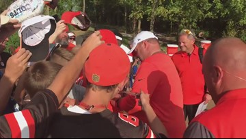 Cleveland Browns coach Freddie Kitchens signed autographs for fans following joint practice with Indianapolis Colts