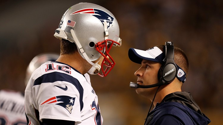 New England Patriots OC Josh McDaniels with QB Tom Brady