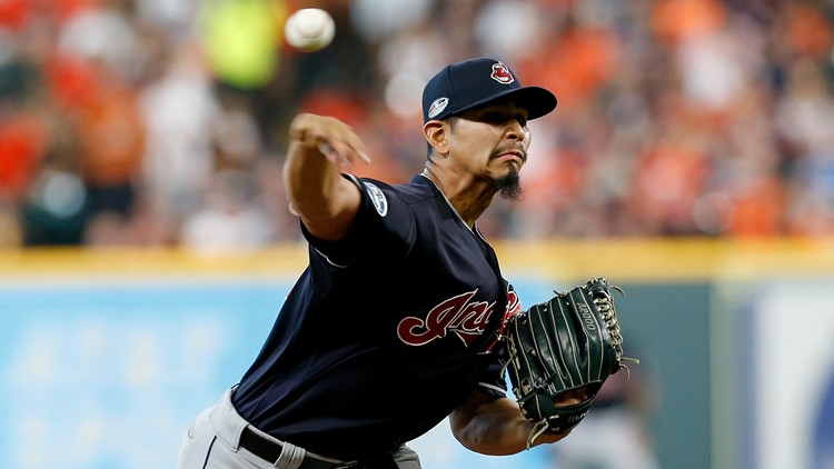 Cleveland Indians SP Carlos Carrasco pitches in postseason