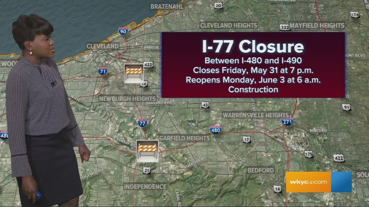 I-77 closed all weekend in Cleveland on map of exits on i 70 ohio, map of lakewood, map of highway 71, map of evansville hospitals, map of illinois highways, map of freeways cleveland, map of university hospital cleveland, map of i 77 exits, map of mount vernon, map of interstate 77 south,
