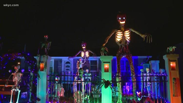 So scary! Massive skeletons take over Sheffield Lake home for Halloween