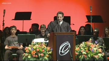 WKYC Director of Content Adam Miller speaks at alma mater graduation