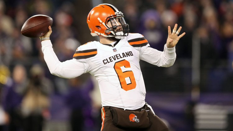 Cleveland Browns QB Baker Mayfield throws pass against Baltimore Ravens