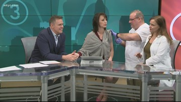 Betsy Kling gets a flu shot live on air as numbers of cases continue to rise