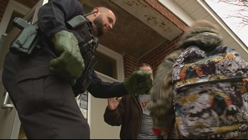 Ashland police officer uses 'Incredible Hulk' hands to connect with students